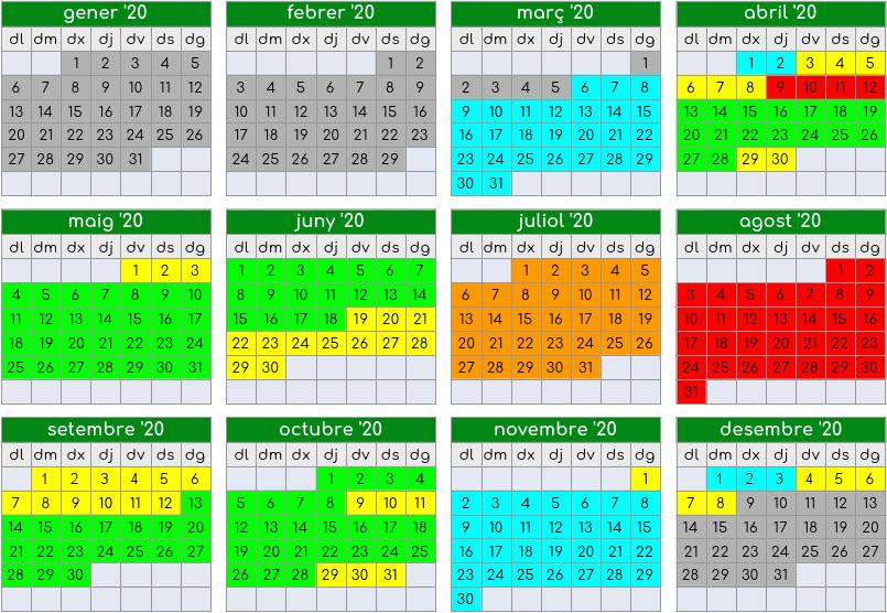 calendar of 2020 season deals